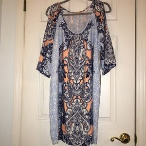 Blues pattern cold shoulder dress new